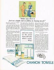 1920's BIG Vintage Cannon Mills Towels Retro Bathroom Decor Art Print Ad