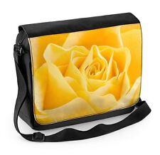 Yellow Rose Large Laptop Messenger Bag - Roses Flowers Floral