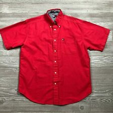 VTG Tommy Hilfiger Red Short Sleeve Button Shirt Flag Logo Men's M O99