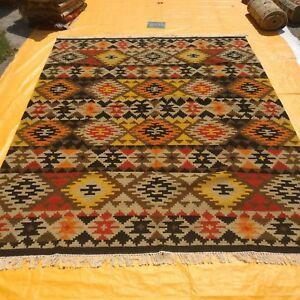 Hand Woven Area Rugs Tribal Navajo Flat Weave Kilim Wool Dhurrie 8x10 Rug Carpet