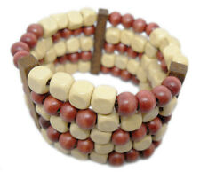 M1018 new wood charm 5 rows bead chain stretch bracelet