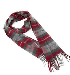 100% Cashmere Scarf - Grey and Burgundy Check -  Made in Scotland
