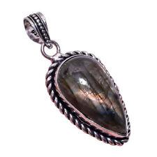Collares y colgantes de joyería con gemas colgante de plata de ley labradorita