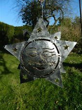 Star Sun Metal Tea light Candle Holder Garden Lantern -  Silver Star Sun Face