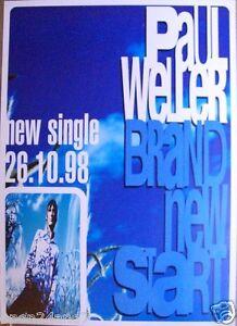 """PAUL WELLER """"BRAND NEW START, SINGLE 26.10.98"""" U.K. PROMO POSTER - The Jam, Mod"""