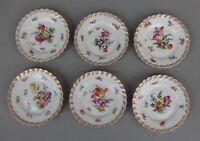 6 assiettes à pain anciennes en porcelaine de Saxe Dresden Carl Thieme