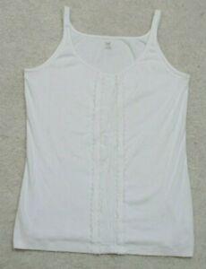 Gap White Tank Top T-Shirt Size Large Womans Tee Cotton Spandex Womens Spaghetti