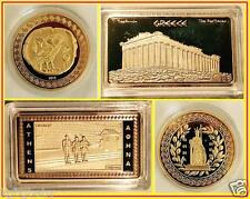 Greek~[ATHENA+OWL] + [ATHENS INGOT] GOLD Plated collectable.