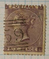 GB sc#39 used POSTAGE stamp QV sg#84 six 6p pence cv$92.50 cut fault