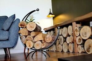 Wrought Iron Log Holder, log ring, log basket. wood burner. Metal log holder.