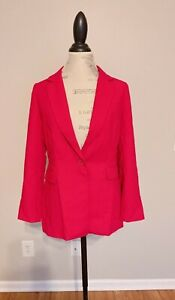 $150 WHITE HOUSE BLACK MARKET LUXE SLIM SUITING BLAZER JACKET Hot Pink Petite 8P