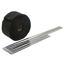 "Black 2""X16' Motorcycle Exhaust Heat Wrap for Manifold Mufflers With 8 Ties"