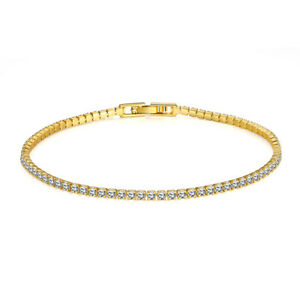 18K Rose Gold /Gold Plated Lady's Stunning Crystal Tennis Bracelet Chain Bangle