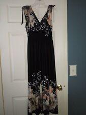 Women Black Floral Long Maxi Summer Casual Dress sz Medium Party Cocktail Dress