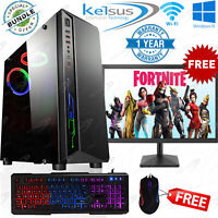 Fast Gaming PC Bundle Monitor 8GB RAM 1TB HDD Windows 10 Nvidia GT710 2GB WIFI