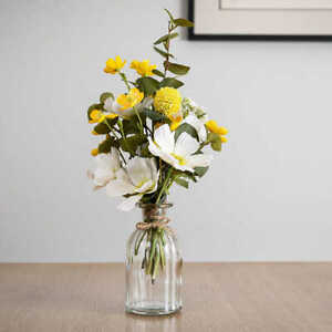 Artificial Yellow Buttercup & Cosmos Flower Arrangement In Vase Realistic Plant