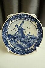 "Vintage Delft Pottery ""Windmill Scene"" Miniature Wall Plate/Dish - 3¼"" Diameter"