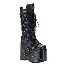 "Demonia Black Stack 7"" Platform Extreme Boots Cyber Gothic Punk Men's 5 (W 7)"
