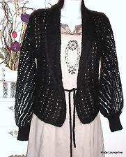 NOA chaqueta lana hecho a mano DE PUNTO KNIT BLACK NUEVO