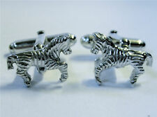 NOVELTY MENS CUFFLINKS ZEBRA SOLID SILVER CUFFLINKS GIFT SET