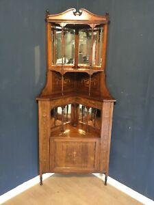 A quality Edwardian rosewood inlaid mirrored corner display cabinet circa 1910