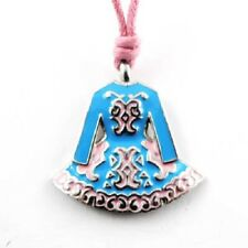 Irish Pewter and Enamel Blue Dancing Dress Pendant with Pink Adjustable Cord