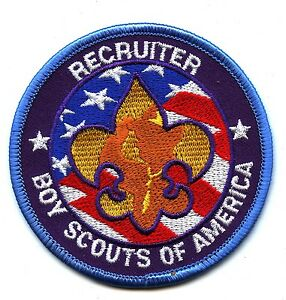 """Recruiter Boy Scouts of America patch new unused adhesive back 3"""" diameter"""