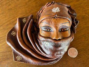 Vintage Hand-sculpted Leather Woman Face Wall Hanging Folk Art Haiti