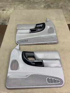 1995-2001 Pair Of Ford Ranger Power Door Panels Light Gray W/ Black  OEM
