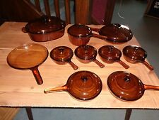 Set of Vision WARE PYREX Amber COOK WARE 19 piece near perfect visions