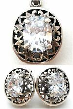 Sterling Silver CZ Set Pendant & Earrings with Cubic Zirconias 6 Cts. 925