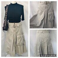 "Vintage River Island 12 Beige Fit N Flare Midi Cargo Safari Skirt Belted W32"""