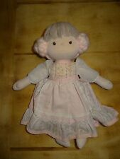Vintage 1981 Applause Swiss Alps Ursula Doll Pink Side Bun Hair Floral Dress