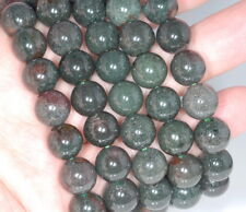 9-10MM RARE DARK GREEN PHANTOM QUARTZ GEMSTONE GRADE AAA ROUND LOOSE BEADS 7""