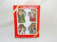Christmas Lil Angels Ornaments Set of Four W/ Box Made in Hong Kong Plastic