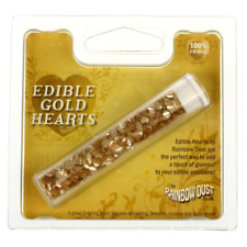 EDIBLE GOLD HEARTS - RAINBOW DUST - EDIBLE CAKE DECORATIONS
