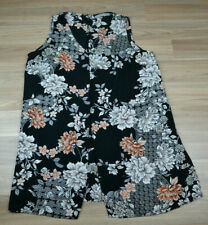 KATIES Womens Black Floral V Neck Tunic / Dress Top Blouse Size Aus 14