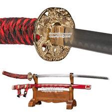 Japanese Style Ceremonial Samurai Sword Jin Tachi Katana Dragon Tsuba Red Scab