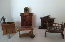 Vintage Doll House Furniture Accessories Lot Wooden Cradle Fireplace Dresser 8pc