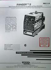 Lincoln Ranger 9 Welder Generator Amp Onan P218 Gas Engine Operators Manual 42pg