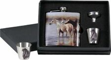 SHOWMAN STAINLESS STEEL FLASK GIFT SET WITH HORSE DESIGN WESTERN OR ENGLISH