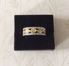 Gold Plated And CZ Band Ring Size O