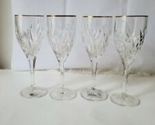 Gorham Glass Star Blossom Gold water goblets CRYSTAL stemware / Drinkware 4 set
