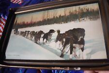 Original Photographed by Otto Schallerer Alaska dog sled team, colorized, & fram