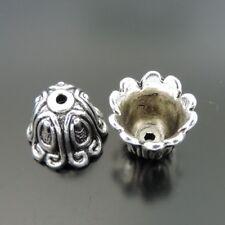 30pcs Vintage Silver Alloy 3D Flower Beads Cap Pendant Findings 39374