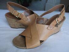 Easy Spirit Lacene Women's Tan Cork Wedge Sandals Buckle 8.5M