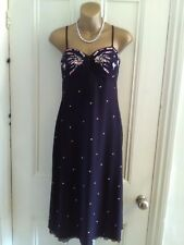 Ladies,size 12.Oasis,Black strappy dress. Stretch.Pink, green,cream embroidery