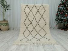 "Moroccan Handmade Beni Ourain Wool shag Rug 3'5""x5'8"" Small White and Bark Rug"