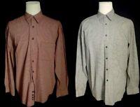 2 Eddie Bauer Mens L Tall Button Down Shirts Plaid  Long Sleeve 100% Cotton