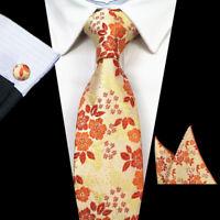 100% Silk Orange Flower Woven Men Tie Set with Free Pocket Square And Cufflinks